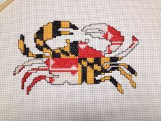 CROSS STITCH PATTERN Maryland Flag Crab
