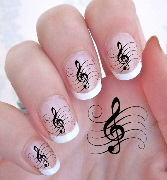 Free Shipping - 42 TREBLE CLEF Music Note Nail Art (MLB) - G Clef Rocker WaterSlide Decals - Not Stickers or Vinyl