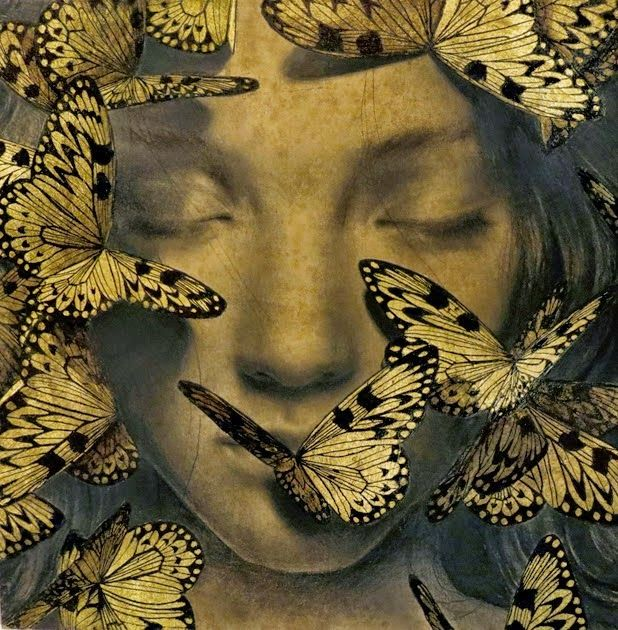 """From the blog """"a girl named NI.RO""""  graphite and gold leaf illustrations by Alessandra Maria"""