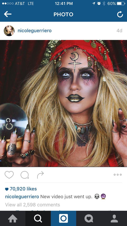 Creepy Fortune teller makeup                                                                                                                                                                                 More