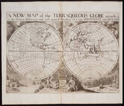 01- A new map of the Terraqueous Globe according to the Ancient Discoveries and most general divisions of it into continents and oceans. :: A New Sett of Maps Both of Ancient and Present Geography