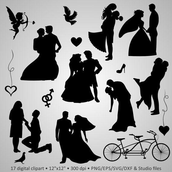 "Buy 2 Get 1 Free! Digital Clipart Silhouettes ""Wedding ..."