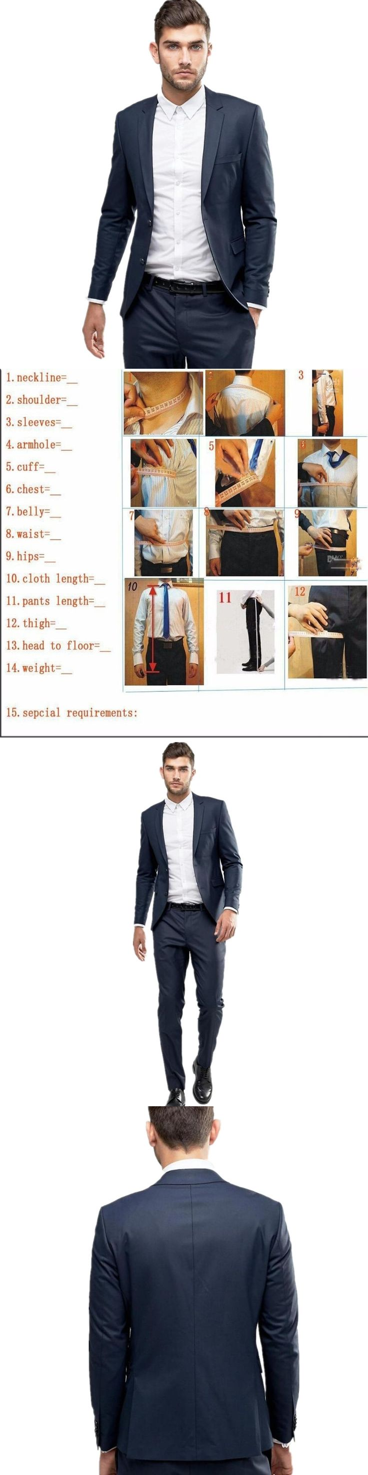 Handmade Men Suits Groom Tuxedos 2 Pieses Cheap Tuxedo Wedding Suits Groom Groomsmen Tuxedos Mens wedding suits (Jacket+Pants)