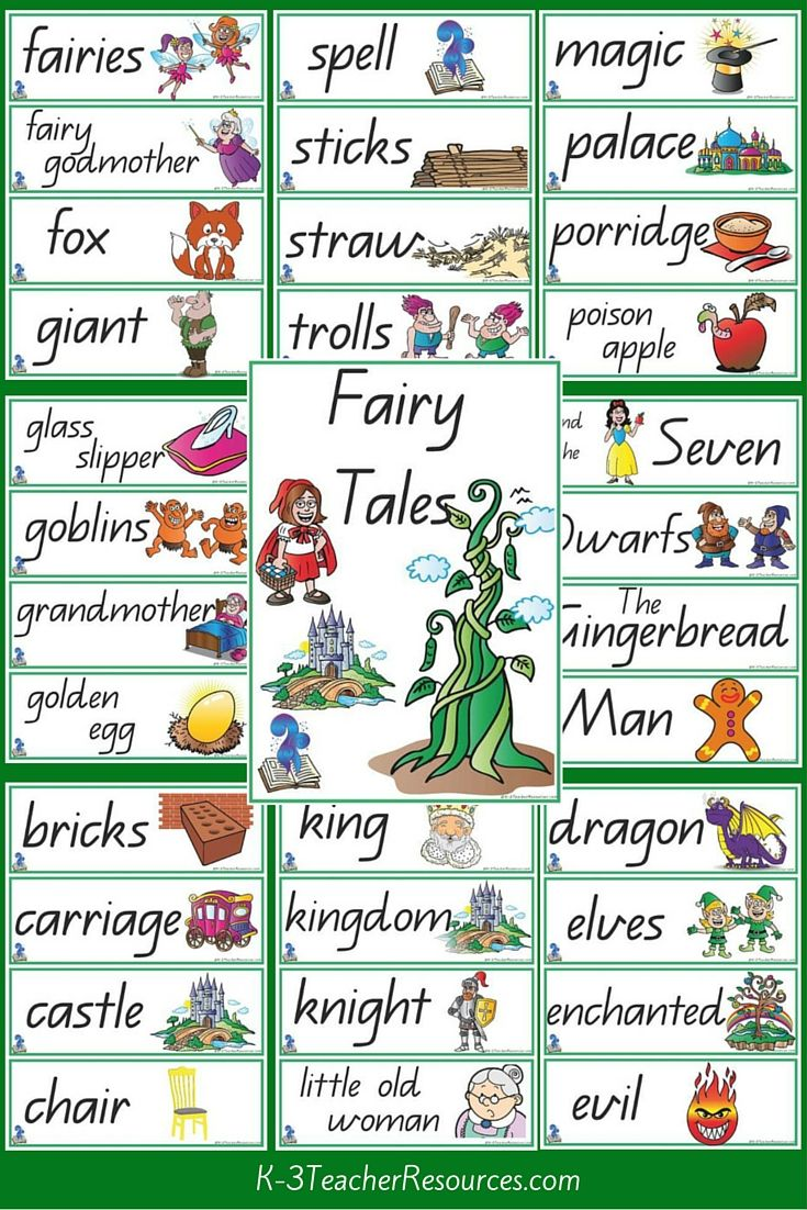 7 Fairy Tale Titles +  39 Fairy Tale vocabulary words - children match the vocabulary words with the titles.     also includes 'Once upon a time'  and  ' ...happily ever after...'