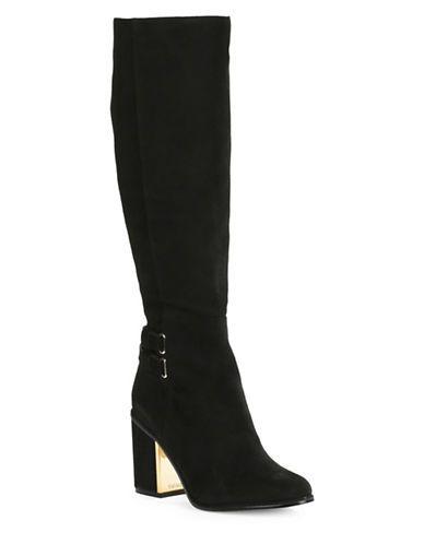 Calvin Klein Camie High-Heel Knee-High Suede Boots Women's Black 7.5