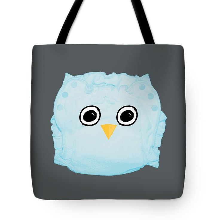 Blue Cloth Diaper Owl Tote Bag by Sverre Andreas Fekjan.  The tote bag is machine washable, available in three different sizes, and includes a black strap for easy carrying on your shoulder.  All totes are available for worldwide shipping and include a money-back guarantee.