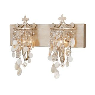 Check out the Vaxcel W0009 Anastasia 2 Light Vanity Light in Silver Leaf