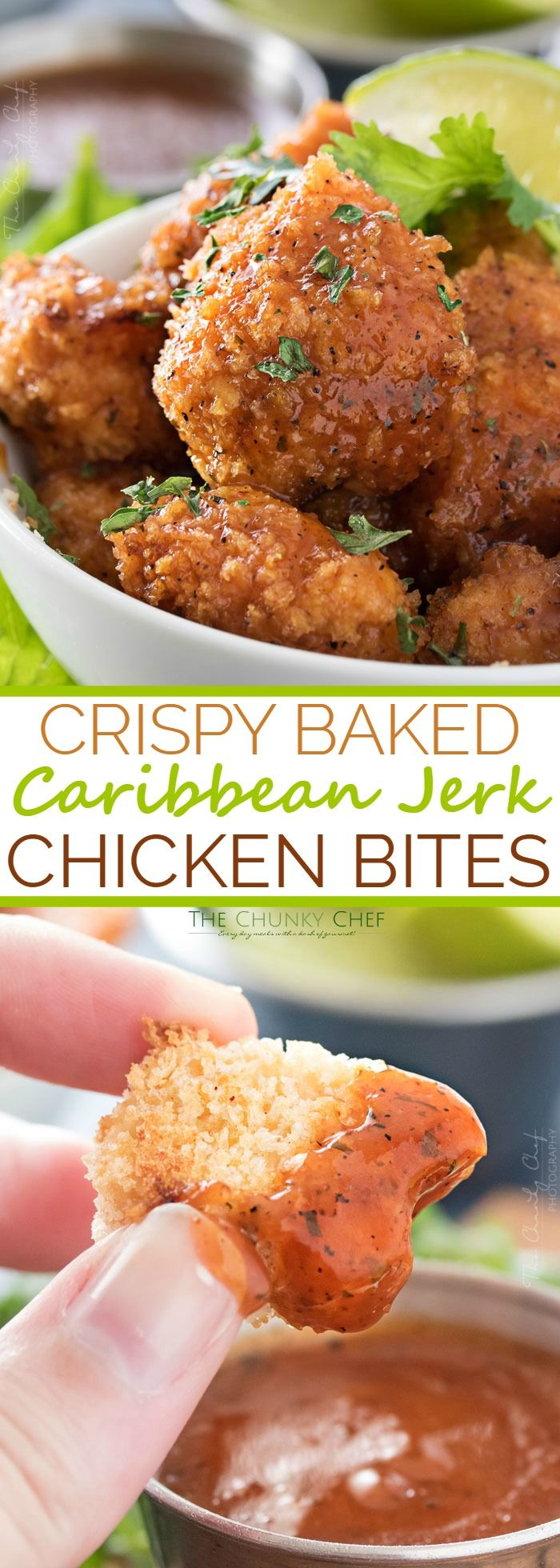 Baked Caribbean Jerk Chicken Bites | These ultra crispy chicken bites are lightened up by baking instead of frying in oil, then tossed in a mouthwatering copycat Caribbean Jerk sauce! | http://thechunkychef.com