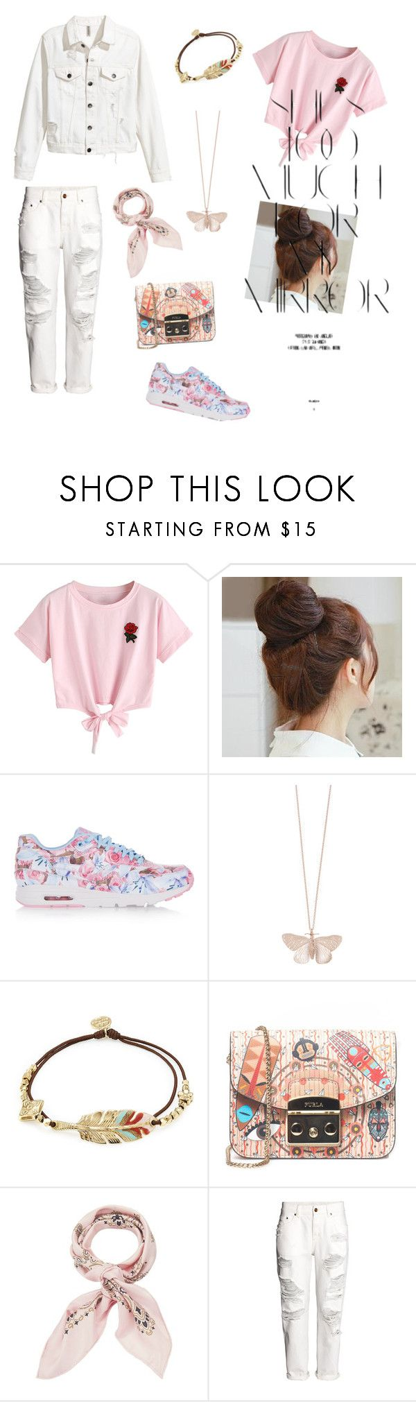 """Dudududu"" by deviisraeni on Polyvore featuring WithChic, Pin Show, Rika, NIKE, Alex Monroe, Gas Bijoux, Furla, Manipuri and H&M"