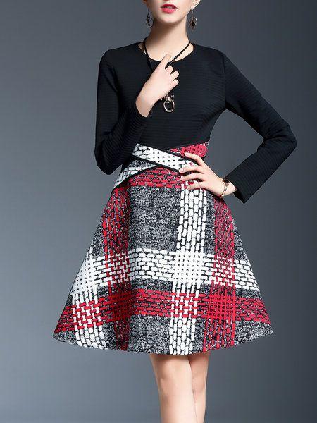 Shop Midi Dresses - Red Elegant Geometric Paneled Midi Dress online. Discover unique designers fashion at StyleWe.com.