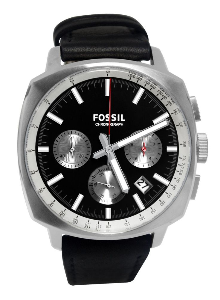 Fossil CH2984 Haywood Chronograph Date Silver Black Dial Leather Band Watch New