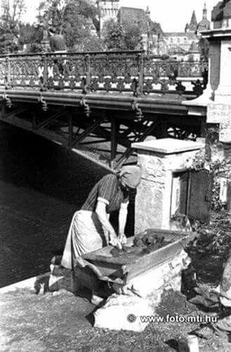 1945. Nagymosás a Városligeti tónál a vízhiány miatt.