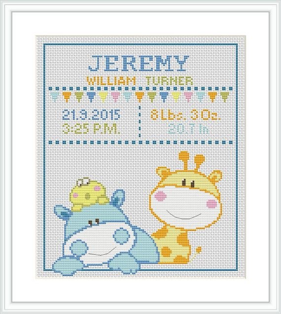 Cross Stitch Pattern baby Birth announcement Animal por Xrestyk