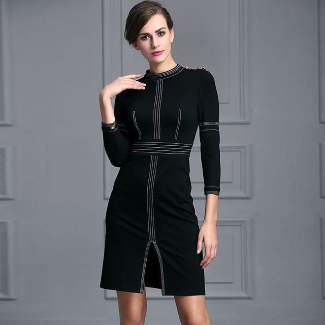 Мода черный тонкий работа платье 2016 женский середина эластичный карандаш длина одежды колено три четверти рукав формальный bussiness платье