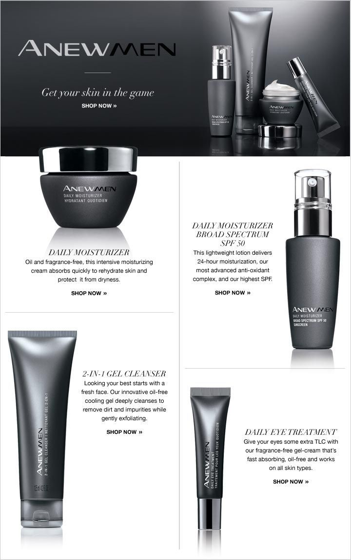 AVON, NOT JUST FOR WOMEN ANYMORE. Visit www.youravon.com/mhamilton39 and check out our ANEW MEN'S line. So get yours and stay in the game with Avon. Spend $40 get FREE shipping to your home. Spend $50 use code WELCOME  to get 20% off your direct delivery purchase. Register your email with me and get 10% off your next purchase. Thanks and Happy Shopping!