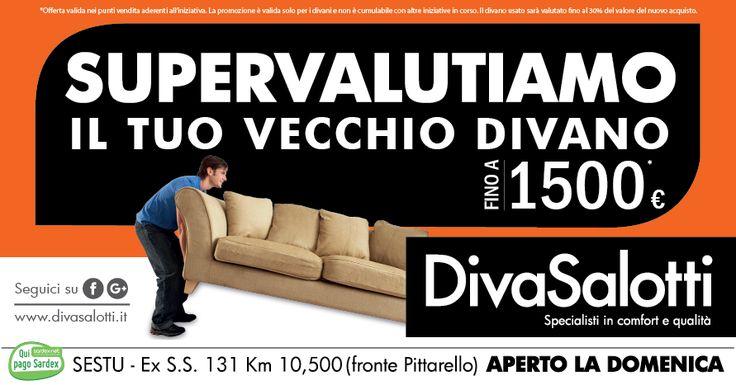 """Da DivaSalotti valutano il vostro vecchio divano fino a 1500 euro! Scopri la campagna """"SUPERVALUTIAMO IL TUO VECCHIO DIVANO"""". #vivereacagliari #offerte #divasalotti"""