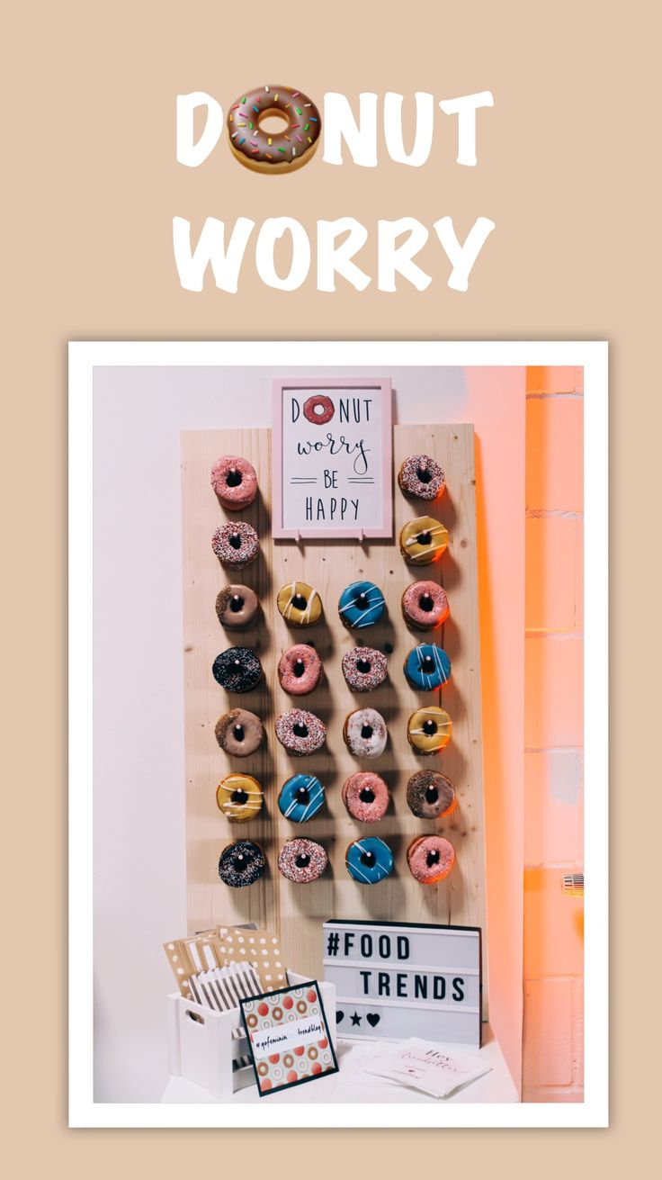 Donut worry - a donut wall the actual food and wedding trend 2017. this cute donut are waiting for you 🍩❤