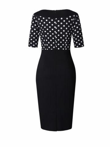 kup Styl vintage kobieca przylegająca sukienka w kropki z nadrukiem sukienka patchwork & Sukienki - w Jollychic