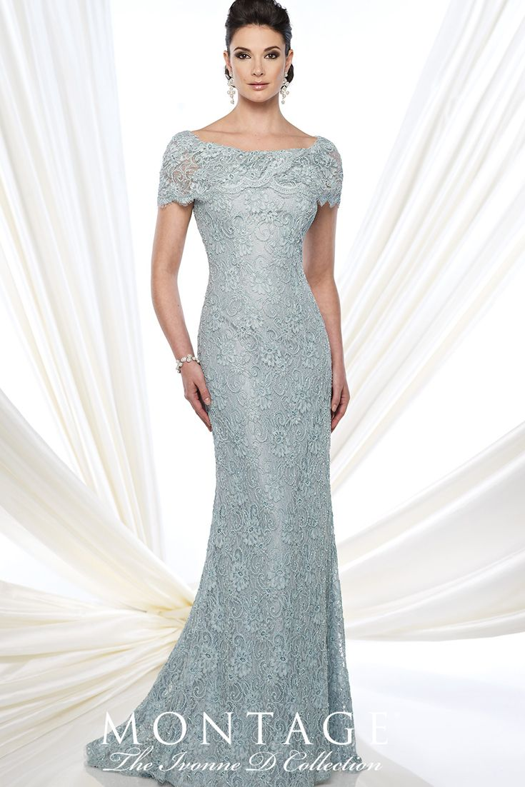Montage The Ivonne D Collection Style No. 215D03 Mother of the Bride / Groom – Special Occasions Dress Lace fit and flare gown with short sleeves, wide bateau portrait collar, back covered buttons, lace appliqué placed around back thigh, sweep train.