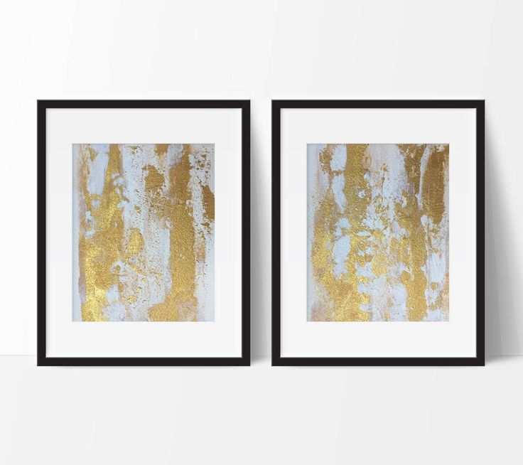 """FREE SHIPPING TO US/UK/AUS/CAN/NZ!  TITLE: """"Raw Gold  DESCRIPTION: · Two (2) Matching 8x10"""" Original Abstract Art Pieces. · Stunning glamorous palette: white, taupe & metallic gold. · Gorgeous sandy texture with high gloss UV protectant varnish – utterly unique & gleaming! · Signed by artist on reverse. · FREE Shipping to US/UK/AUS/CAN/US (please enquire if your country is not listed).  Frames not included. Photos may not be exactly to scale. Ca..."""