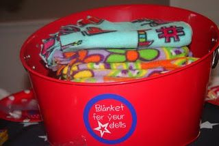 American Girl Doll Blankets For Girls to make at sleepover party-How cool is this- we bought fleece, cut into 18x20 shapes started the knotting and then the girls finished up with a blanket for their dolls.