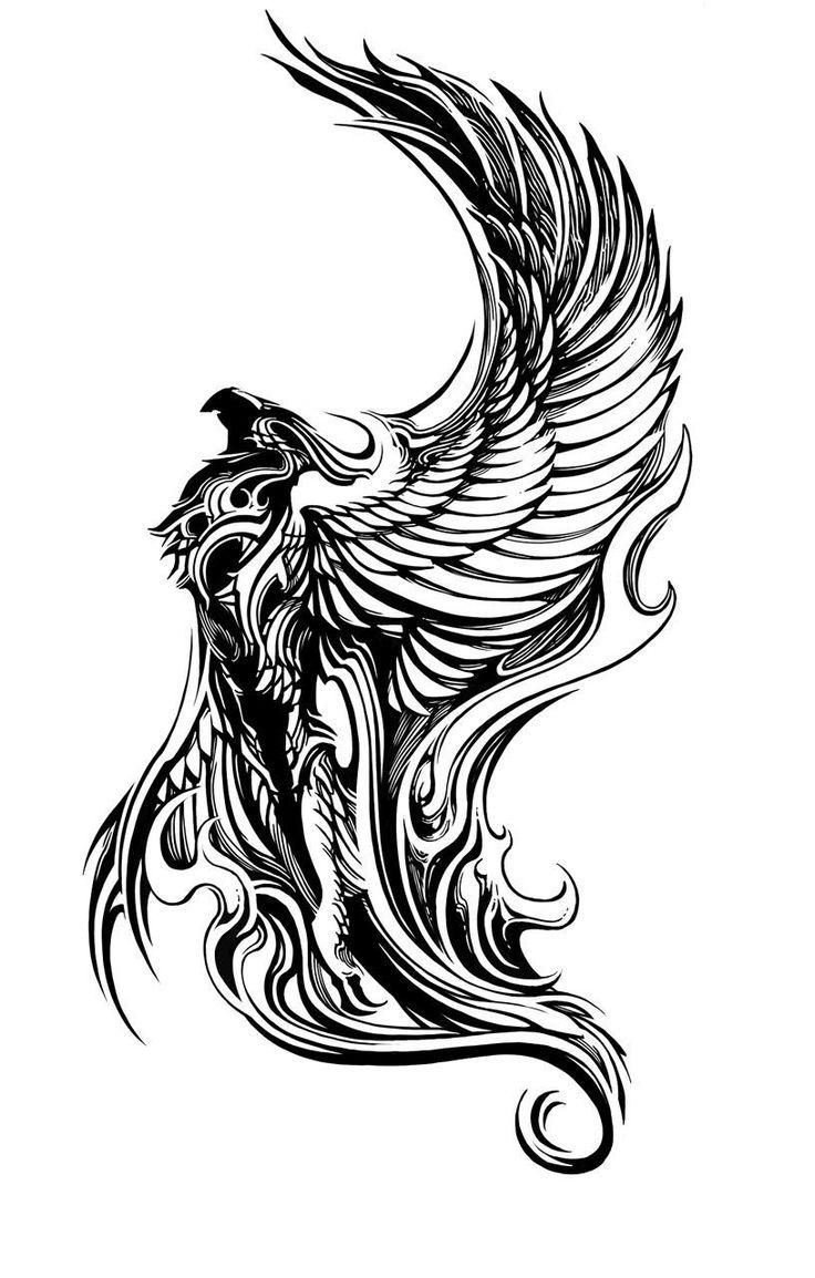 Rising Phoenix Tattoo sleeve | Tattoos Phoenix  Would be great in watercolour, beautiful posture of the bird