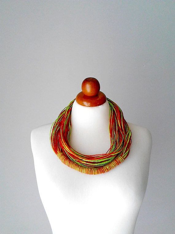 Linen necklace african jewelry natural linen necklace eco