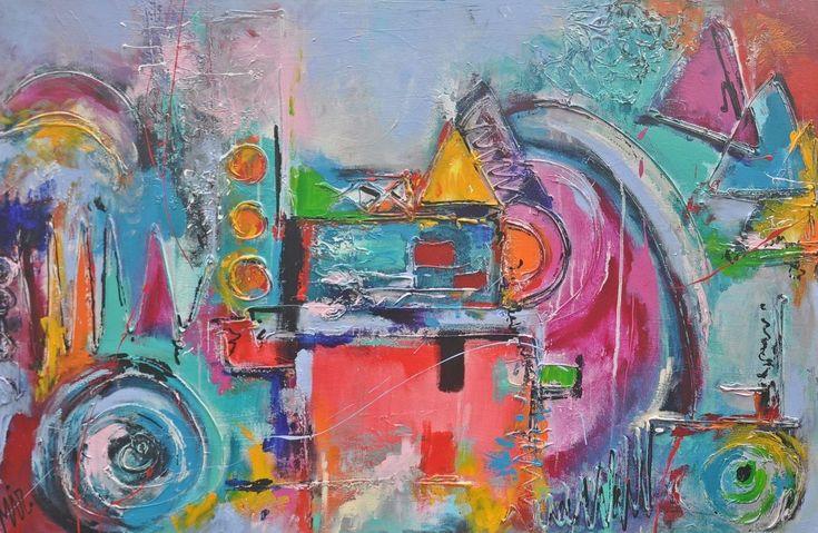 Universum  /  Universe, schilderij van Kunstenares Mir, Mirthe Kolkman | Abstract | Modern | Kunst