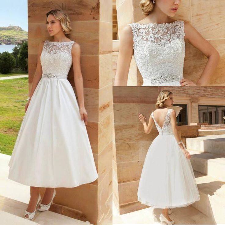 Wholesale A-Line Wedding Dresses - Buy 2014 Vintage Cheap Cute Wedding Gowns Bateau Ankle Length Beaded Sash Lace Appliques Backless New Lady Good Figure Bridal Dresses Elegant, $110.31 | DHgate