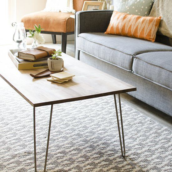 learn how to build your own hairpin coffee table inspired by mid century modern design full. Black Bedroom Furniture Sets. Home Design Ideas