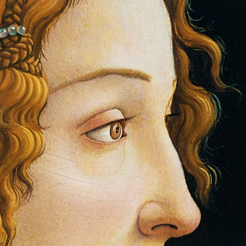 detailsdetales:  Portrait of a Young Woman of Frankfurt (c. 1480-1485) Sandro Botticelli