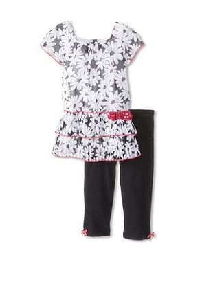 43% OFF Little Lass Girl's 2-Piece Chiffon Set (Black/White)