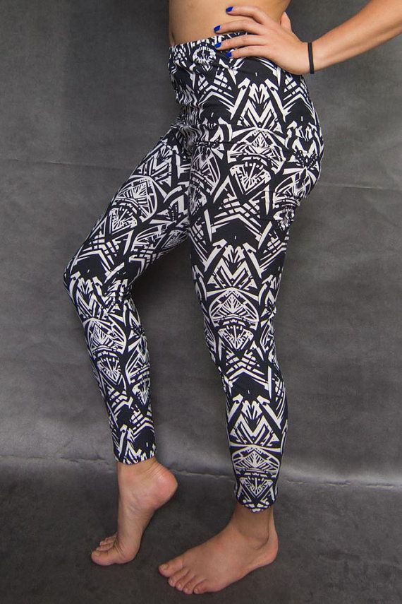 Abstract geometric tribal printed legging by TheLeggingGirl on Etsy. Perfect for everyday errands, yoga... or just lounging around :) #blackandwhite
