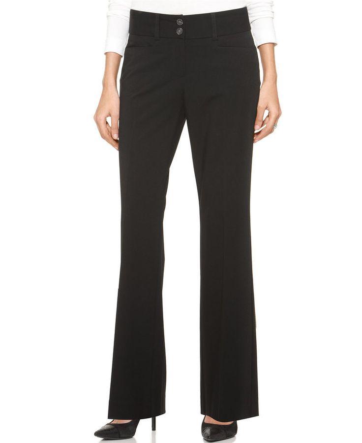 Alfani Women's Straight-leg Two-button Trousers, Black, Size 2 #Alfani #DressPants