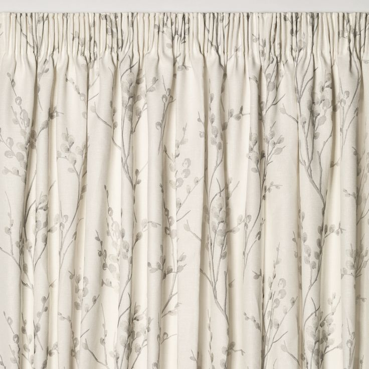 Pussy Willow Off White/Dove Grey Floral Pencil Pleat Ready Made Curtains at Laura Ashley