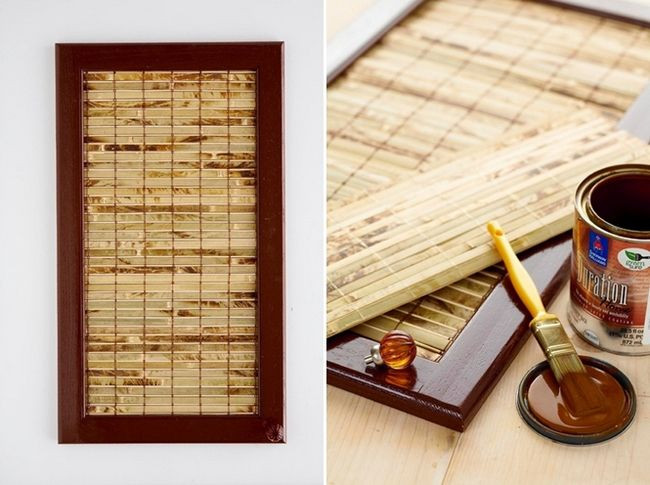 diy kitchen cabinet makeover bamboo mat remove panel and glue mat to