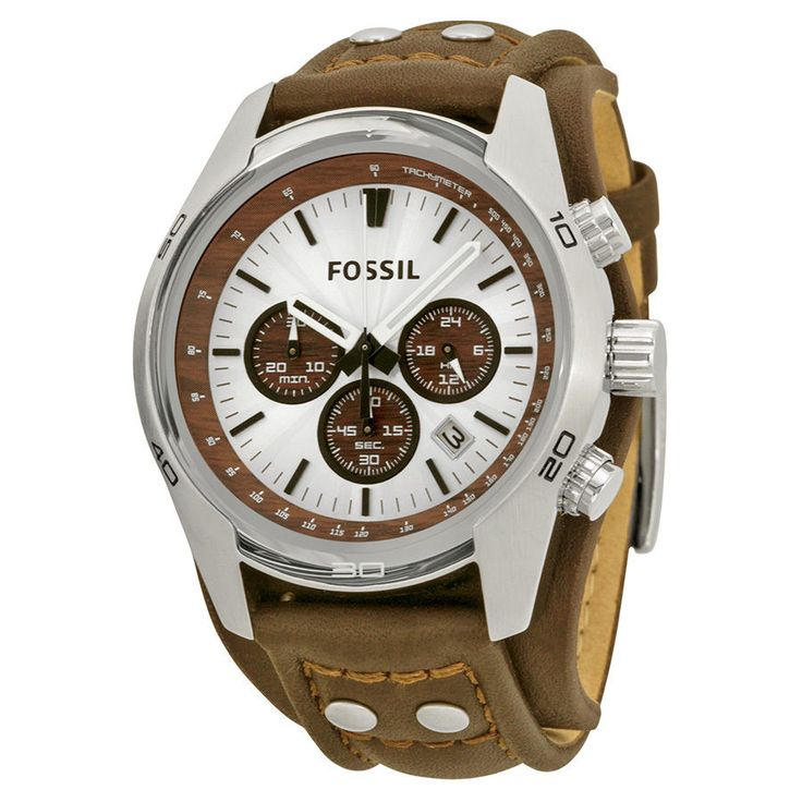 (43% off) Fossil CH2565 Men's Chronograph Silver Dial Brown Leather Cuff #Fossil
