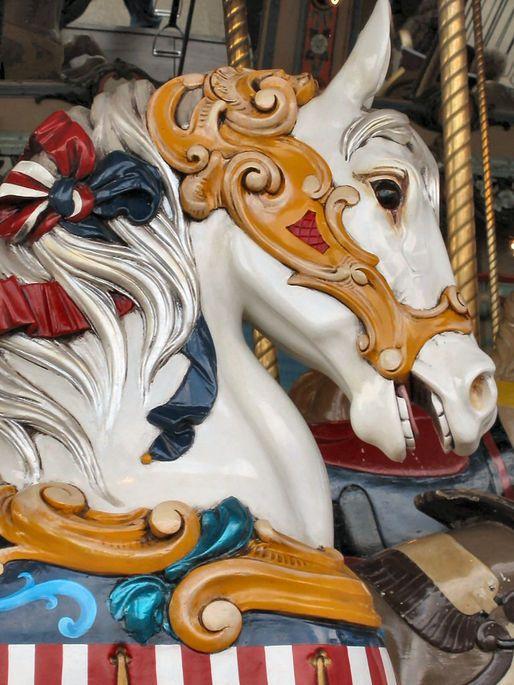 State Fair Park Dentzel Outside Row Stander Head Close-up (Photographer Chris K Benson)