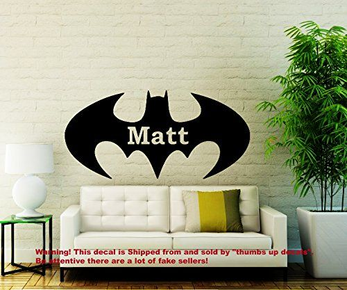 Wall Decals Personalized Name Batman Decal Vinyl Sticker Superhero Nursery Decor Playroom Interior Bedroom Window Decals Art Murals *** You can get additional details at the image link.