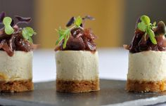 Goat's cheesecake recipe with red onion jam. Amazing savoury cheesecake idea for a canapé dinner party