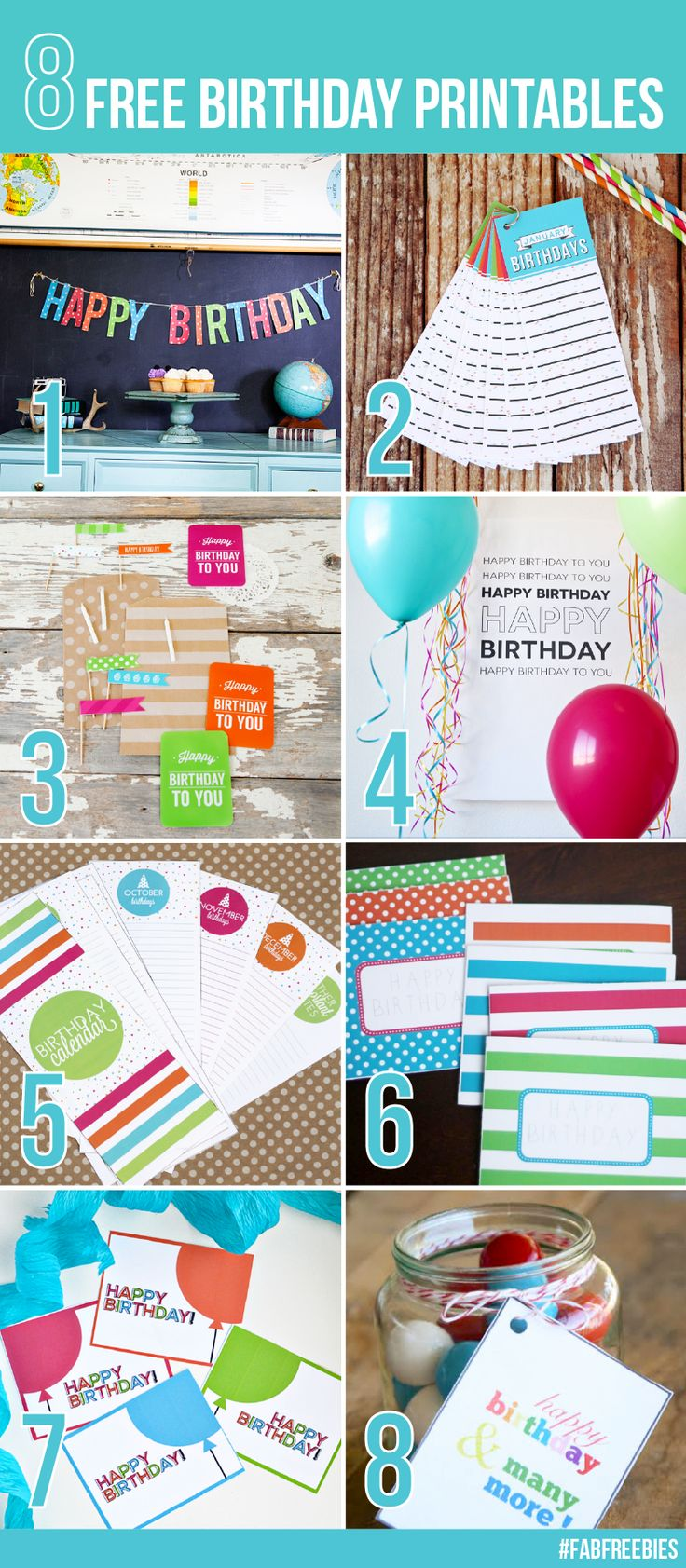 Happy Birthday Cards + 7 more free birthday printables!