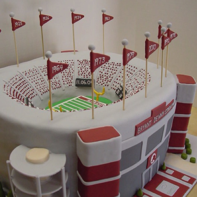 University of Alabama Bryant Denny Stadium groom's cake made by Gennifer for our cousin's wedding - the details astound me and I shudder to think how many hours she spent on this!
