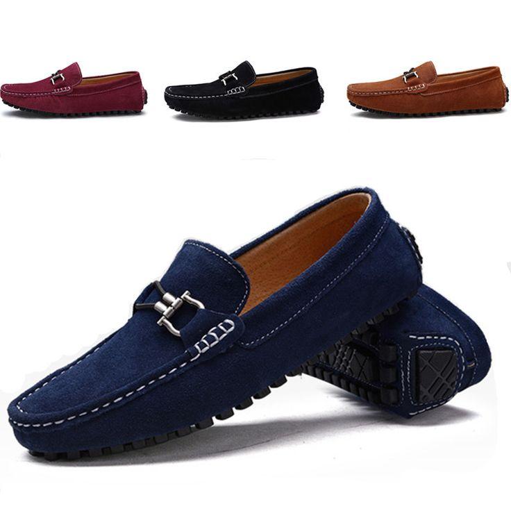 Mode Hommes Outdoor Chaussures en cuir Souliers simples de conduite Mocassins Chaussures plates qMxwYcL
