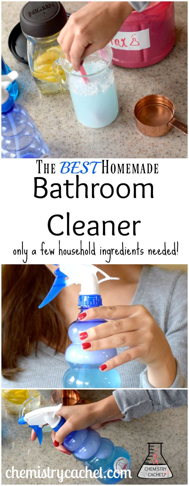 This is the BEST homemade bathroom cleaner. No special ingredients needed, just basic household items. Simple bathroom cleaner that works! Video tutorial on chemistrycachet.com