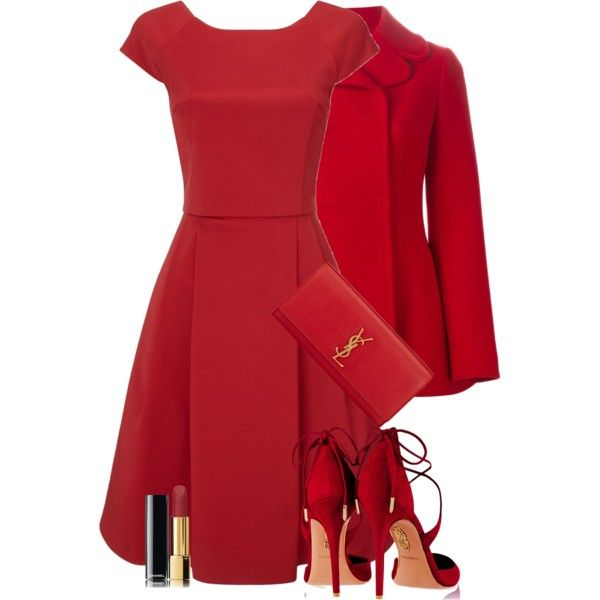 LITTLE RED DRESS by lbite on Polyvore featuring mode, Phase Eight, Dolce&Gabbana, Aquazzura, Yves Saint Laurent and Chanel