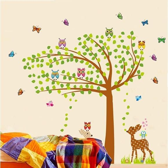 Wall Stickers Owl & Deer & Tree Giant Wall Sticker for Baby & Kids Rooms Home Decor