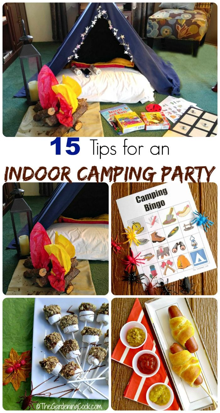 These 15 tips for an indoor camping party will have your children squealing with glee. thegardeningcook.com #TysonLifesanAdventure #ShareIt #ad