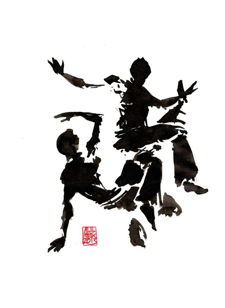 Encres : Capoeira – 427 [ #capoeira #watercolor #illustration]