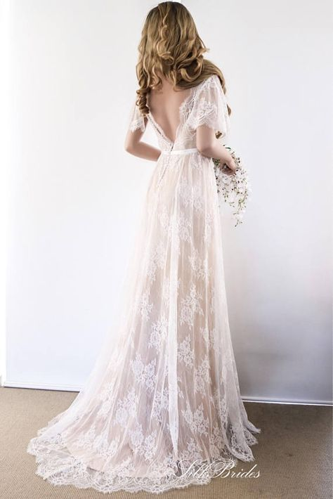 Lace Wedding Dress/ Unique Wedding Dress/ Boho Wedding Gown with sleeves/ Beach Wedding Dress/ Open back dress