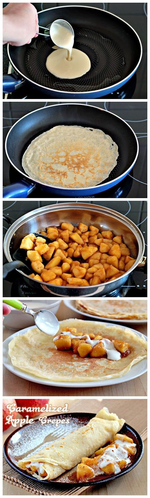 Caramelized Apple Crepes for batter: 1 cup (120 grams) cake flour 1 cup (250 ml) milk 1/2 cup (125 ml) water 1/4 cup (50 grams) granulated white sugar 2 eggs pinch salt vegetable oil (for cooking) for filling: 6 apples, 1 1/2 tbsp(20 ml) lemon juice 1tbsp lemon zest 1/2 tsp ground cinnamon 2 tbsp unsalted butter 6tbsp (70 grams) sugar 1 cup (250 ml) creme fraich (or sour cream) 3tbsp confectioners' sugar